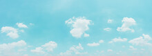 Beautiful Panorama Blue Sky And Clouds With Daylight Natural Background. Vintage Color Tone Style.