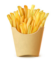 French Fries In Box Realistic Vector