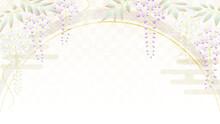藤の花の友禅風イラスト コピースペースあり