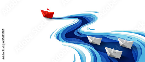 Foto Success leadership concept, Origami red paper boat floating in front of white pa