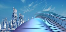City Landscape With Blue Sky. Modern Architecture Detail. Futuristic Metal Building. Abstract Curved Shape. 3D Rendering