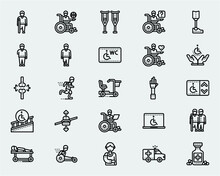 Disability Icons Line Style Illustration Vol. 2