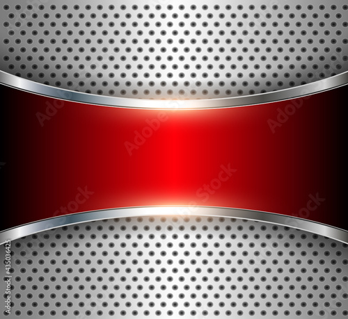 Fotografie, Obraz Metallic background perforated metal with chrome shine and red banner, elegant silver technological  background in 3D, interesting steel texture pattern, vector illustration