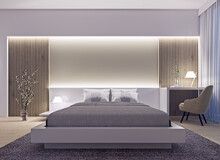 Modern Interior Design Of Spacious Luxury Bedroom With Wood Slat Wall And Accent Lighting At Night, 3d Rendering, 3d Illustration
