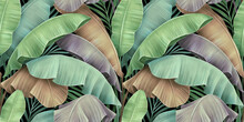 Tropical Exotic Seamless Pattern Of Vintage Pastel Color Banana Leaves, Palm Foliage. Hand-drawn Textured Beautiful 3D Illustration. Glamorous Luxury Background. Good For Wallpapers, Fabric Printing.