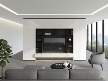 Modern Living Room With Minimalist Tv Backdrop 3d Render ,gray Carpet Floors And White Painted Walls, Gray Furniture With Large Windows Overlooking The City.