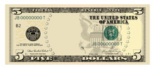 US Dollars 5 Banknote -American Dollar Bill Cash Money Isolated On White Background.