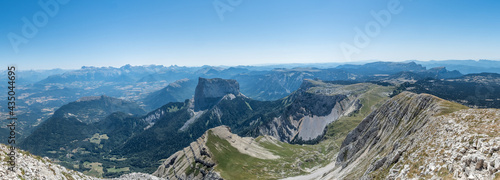Panoramic view of the mont Aiguille from the Grand Vemont summit #435044695