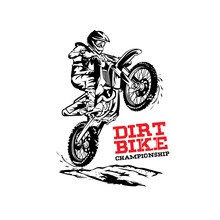 Dirt Bike Extreme Sport Vector Illustration, Perfect For Tshirt Design And Competition Logo