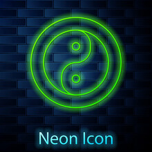 Glowing Neon Line Yin Yang Symbol Of Harmony And Balance Icon Isolated On Brick Wall Background. Vector
