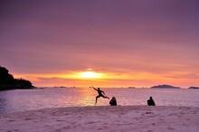 Sunset On The Beach At Lipe Island , Satun Thailand