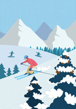 Winter Hand-drawn Poster Active Recreation In Alpine Mountains. Skier Downhill Skiing Down Snowy Slope. Athletes Snowboarders Ride Snowboard. Outdoor Sports In Ski Resort Vector Illustration