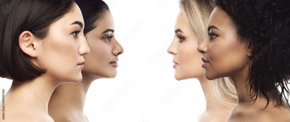 Multi-ethnic beauty and skincare. Group of women with a different ethnicity. - obrazy, fototapety, plakaty
