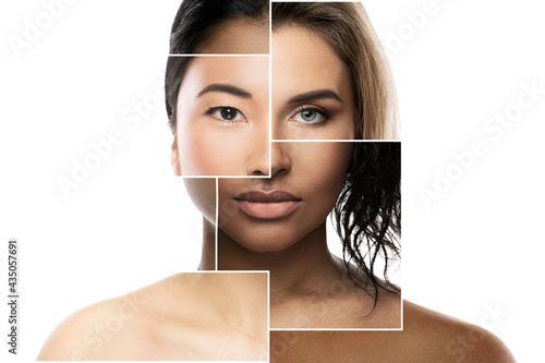 Face parts of different ethnicity women Fototapeta