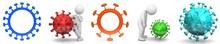 Corona Virus Sign Covid 19 Coronavirus Covid-19 Symbol Icons Red Blue Orange Green Turquoise Multi-colored With White Stickman Person 3d Rendering