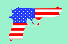 United States Of America Flag Over Pistol Gun Vector Silhouette Illustration Isolated On Background. Patriotic Security Concept. USA First Amendment Right Symbol. Firearms Protect Home And Family.