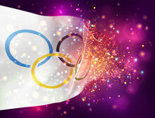 White Flag With Olympics Rings Vector 3d Flag On Pink Purple Background With Lighting And Flares