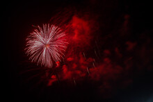 Big And Beautiful Red Fireworks For Victory Day
