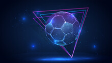 Vector 3d Soccer Ball On Blue Background In Virtual Space