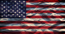 USA Flag In The Fabric Textile Textured Background
