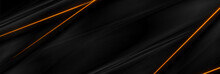 Black Smooth Abstract Background With Neon Glowing Orange Lines. Vector Futuristic Banner Design