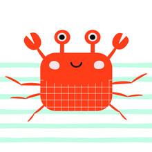 Cute Crab In Water Waves. Kids Cute Print. Vector Hand Drawn Illustration.