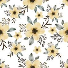 Seamless Pattern Of Yelow Flower Bouquet For Fabric, Yellow Flower Bouquet Background