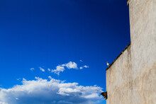 Portion Of A Large Wall Of An Ancient Building With A Seagull On The Top, An Intense Blue Sky And Large Cumulus Clouds In The Background.