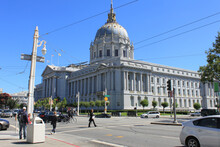 San Francisco, California, USA-August 06, 2012: View To San Francisco City Hall, A Monument, Beaux-Arts Architecture Style