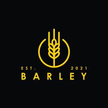 Golden Wheat Barley Malt Simple Flat Minimalist In The Circle Shape Logo Design