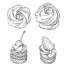 Set Of Hand Drawn Meringues On White Background. Zephyr And Sweet Mini Pavlova Cake With Cream, Strawberry And Cherry. Vector Illustration In Engrave Style.