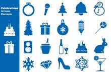 Fêtes Et Célébrations En 20 Icônes Bleus, Collection