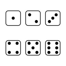Set Face Cube Six Dot Of Game Dice Flat Icon Vector.