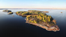 Autumn In Vyborg Bay, Aero View Of Clean Nordic Nature. Beautiful Rocks And Cliffs With Woods In North Europe, Baltic Sea, Gulf Of Finland.