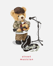 Cute Bear Doll Street Musician Vector Illustration