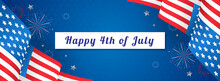 Happy 4th Of July Banner Vector Illustration. USA Flag Waving On Star Pattern Background