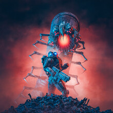 Alien Monster Hunter Soldier / 3D Illustration Of Science Fiction Military Robot Warrior Confronting Giant Robotic Insect With Ominous Red Sky Background