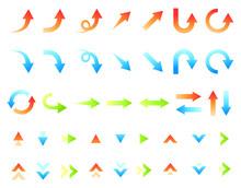 グラデーションカラーのシンプルな矢印のベクターイラストセット