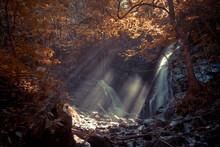 Sun Rays Shining At Soco Falls