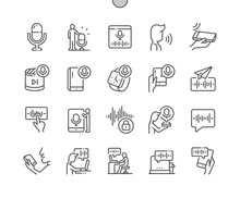 Voice Functions. Start Recording. Voice Message. Speak, Technology, Recording, Communication, Internet, App And Network. Pixel Perfect Vector Thin Line Icons. Simple Minimal Pictogram
