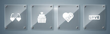 Set Love Text, Candy In Heart Shaped Box, Wedding Cake With And Heart Love Glasses. Square Glass Panels. Vector