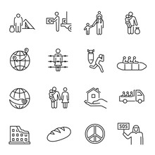 Collection Of Monochrome Simple Refugees Icon Vector Illustration. Concept Of International Problem