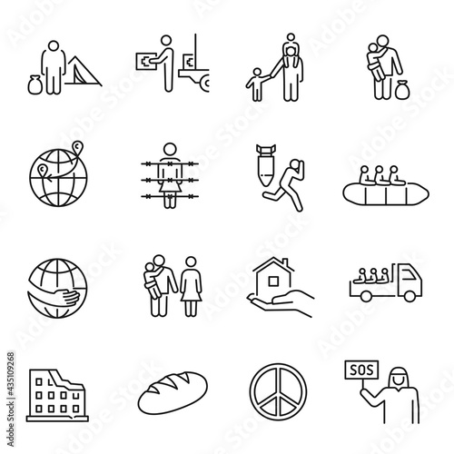 Collection of monochrome simple refugees icon vector illustration Fototapeta