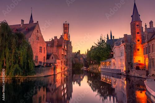 Valokuvatapetti Sunset over the canal of Bruges, Belgium