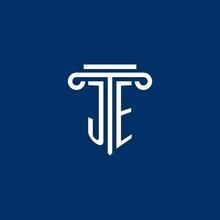 JE Initial Logo Monogram With Simple Pillar Icon