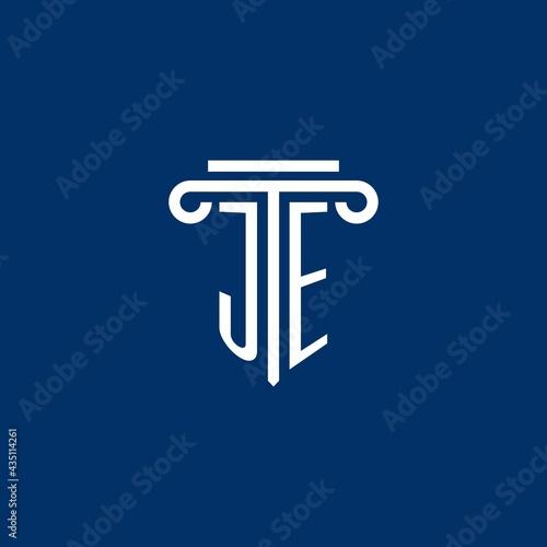 JE initial logo monogram with simple pillar icon Tapéta, Fotótapéta