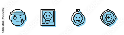 Stampa su Tela Set line Murder, Bandit, Wanted poster and Headshot icon. Vector