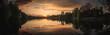 Sonnenuntergang am Wasser in Lüneburger Heide im Frühling