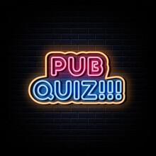 Pub Quiz Neon Signs Vector. Design Template Neon Sign