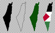 Set Vector Map Flag Of Palestine Isolated On White Background. Vector Illustration